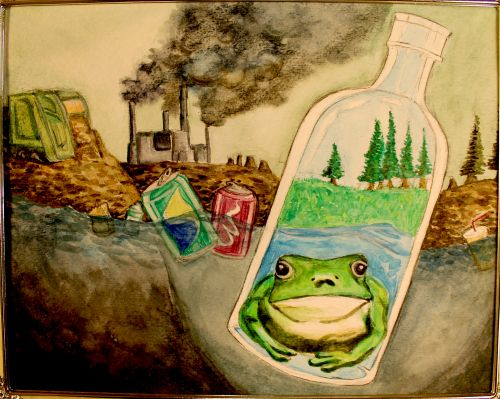 1st Place Winner, Olivia Xu, New Jersey, USA, Frogs Are Green Kids Art Contest, Best Environmental Art