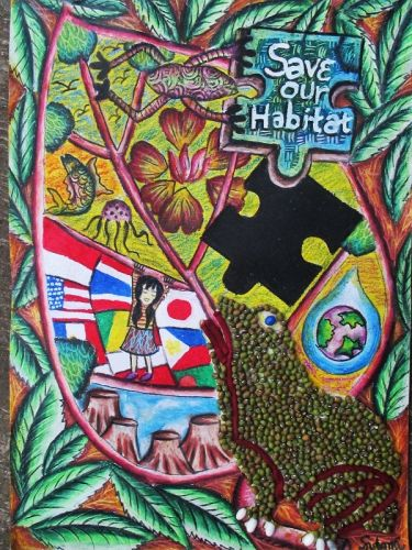 Honorable Mention, Lena Sutanti, Indonesia, Frogs Are Green Kids Art Contest, Best Environmental Art