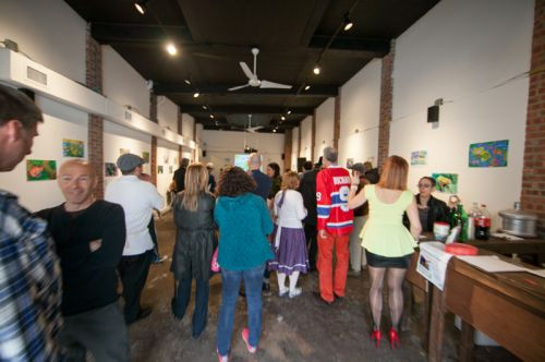 Crowd at the Green Dream - Save The Frogs Day event, The Distillery Gallery in Jersey City. Photo by Danny Chong.