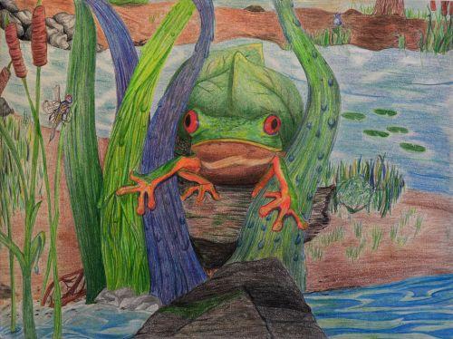 1st Place Winner, Reshma Modi, New Jersey, USA, Frogs Are Green Kids Art Contest, Best of Jersey City