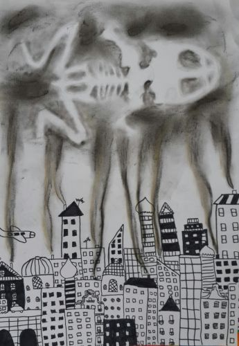 1st Place Winner, Sude Dogan, Turkey, Frogs Are Green Kids Art Contest, Best Black and White