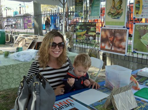 Christine Goodman and son busy drawing a frog at WPLIVE