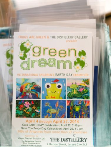 Green Dream postcards are paired with seed packets as a giveaway to children who attended the event at The Distillery Gallery.