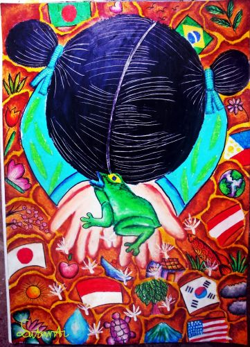 Honorable Mention, Lena Sutanti, Indonesia, Frogs Are Green Kids Art Contest, Ages 13-16
