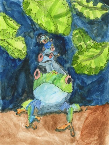Honorable Mention, Lucy Krimmel, California, Frogs Are Green Kids Art Contest 2014, age 3-6 group