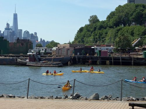 Kayaks out in Hoboken, NJ all day long!