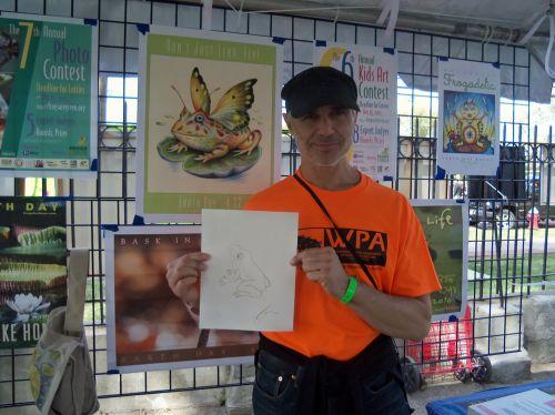 Anthony Bunda draws a frog at WPLIVE 2015