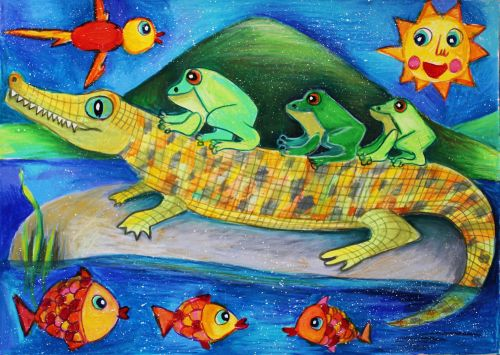 Viara Pencheva, 8 years old, Bulgaria, Crocodile and Frogs