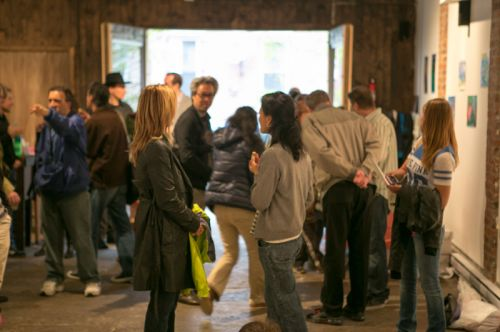 Crowd at Green Dream's Save the Frogs Day event at The Distillery Gallery in Jersey City. Photo by Danny Chong.