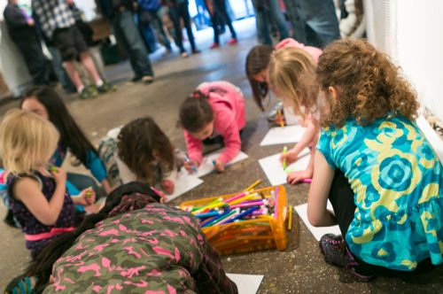 Kids drawing at Frogs Are Green's Green Dream - Save the Frogs Day event at The Distillery Gallery. Photo by Danny Chong.