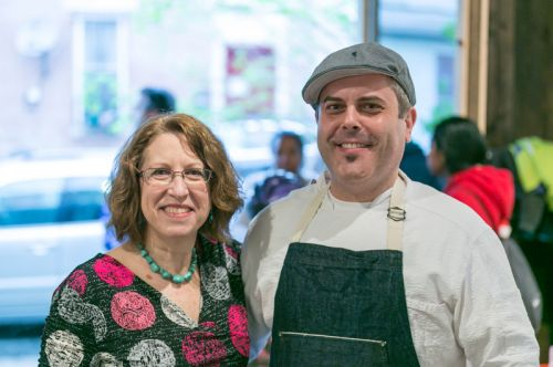 Susan Newman, founder of Frogs Are Green with Chef Camillo Sabella at the Green Dream - Save The Frogs Day event, The Distillery Gallery in Jersey City. Photo by Danny Chong.