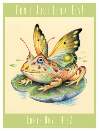 Sylvie Daigneault Winged Frog - Earth Day Poster by Susan Newman, Frogs Are Green