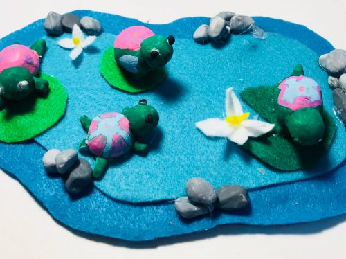 Turtle pond, Yuna Han, 9 years old, CA , 3d art