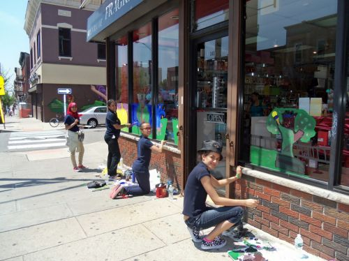 PS-4-students-city-of-trees-window-painting-341-Central-Ave
