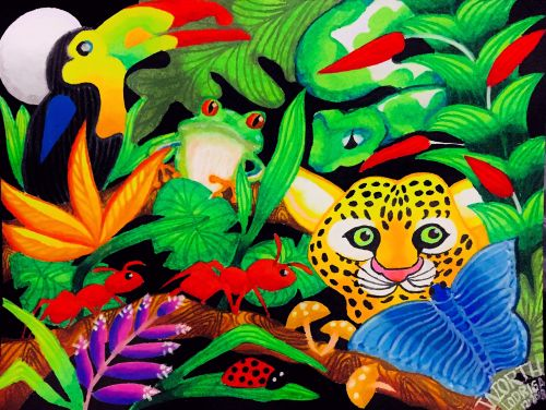 1st Place, Worth Lodriga, 9 yrs old, Philippines, Saving The Rainforest, Oil Pastels