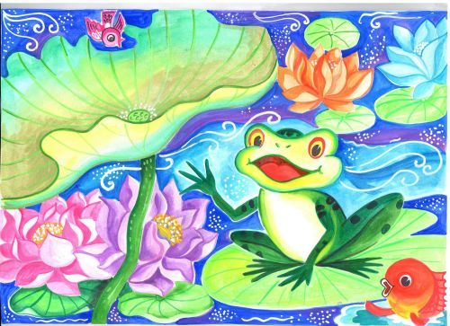 2nd Place Winner, Arushi Aggarwal, India, Frogs Are Green Kids Art Contest, Ages 13-16
