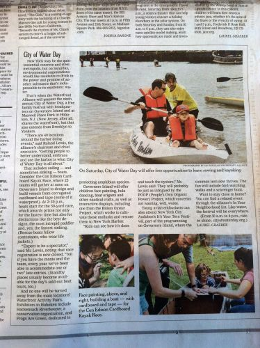 New York Times article about The City of Water event and Frogs Are Green is mentioned!