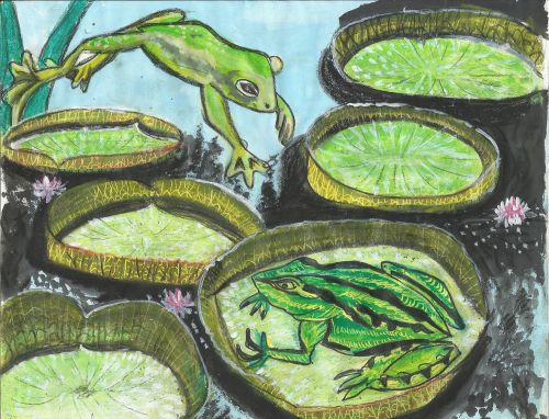 1st Place Winner, Roshni K.R., India, Frogs Are Green Kids Art Contest ages 10-12