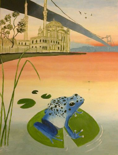4th Place Winner, Rana Taki, Turkey, Frogs Are Green Kids Art Contest ages 10-12