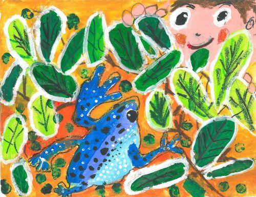 Honorable Mention, Liu Tsz Chun, Hong Kong, Frogs Are Green Kids Art Contest 2014, age 3-6 group