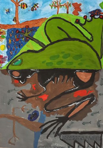Honorable Mention, Mercen Turkmen, Turkey, Frogs Are Green Kids Art Contest ages 10-12