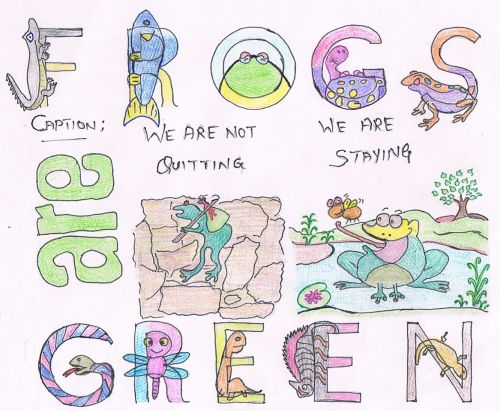 Honorable Mention, Pranav Vijay Chhatbar, India, Frogs Are Green Kids Art Contest, Best Typography