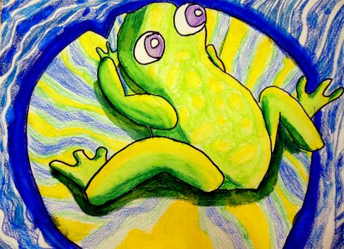 Honorable Mention, Stephen Lu, South Brunswick, NJ, Frogs Are Green Kids Art Contest 2014, age 3-6 group