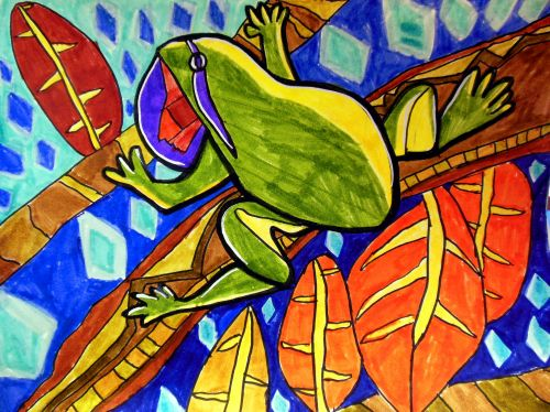 2nd Place Winner, Mofan Qu, South Brunswick, New Jersey, Frogs Are Green Kids Art Contest - Ages 7-9