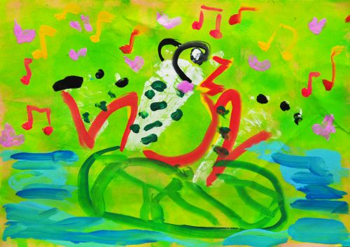 3rd Place Winner Vinci Chan Wing Chi, Hong Kong, Frogs Are Green Kids Art Contest 2014, age 3-6 group