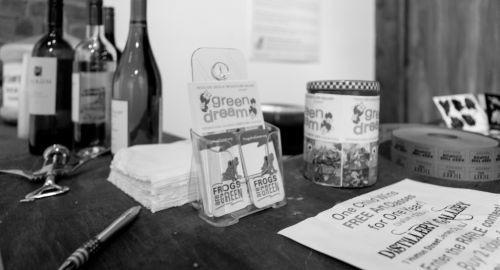 Green Dream marketing materials and the Raffle area. Drawing was 4.26 and someone won for one child to receive free art classes for a year at the Distillery Gallery!
