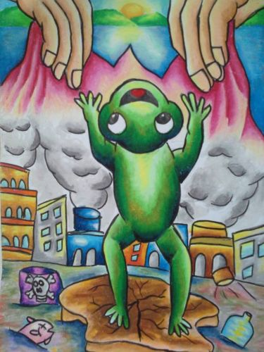 Honorable Mention, Joshua Lim Kah Lok, Malaysia, Frogs Are Green Kids Art Contest ages 10-12