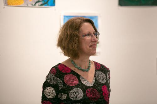 Susan Newman, founder of Frogs Are Green at the Green Dream - Save The Frogs Day event, The Distillery Gallery in Jersey City. Photo by Danny Chong.