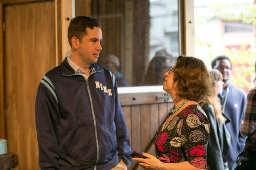 Mayor Steven Fulop and Frogs Are Green founder Susan Newman discuss frog decline, engaging children through art and self-expression and the Green Dream - Save The Frogs Day event at The Distillery Gallery in Jersey City. Photo by Danny Chong.