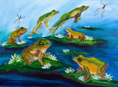 Honorable Mention, Elif Ersoz, Turkey, Frogs Are Green Kids Art Contest ages 10-12