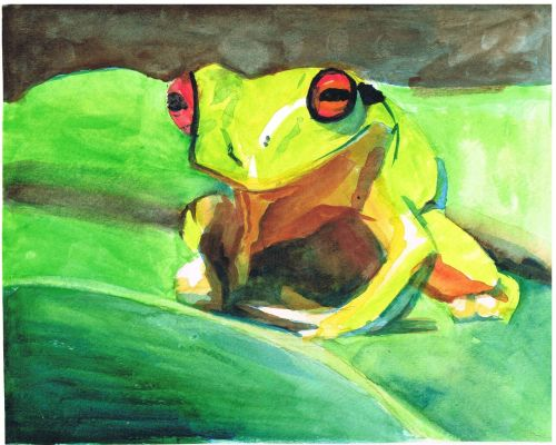 Honorable Mention, Aditri Chauhan, Piscataway, New Jersey, Frogs Are Green Kids Art Contest - Ages 7-9