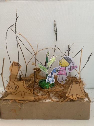 Adyaashree Rout, 6 years old, India, green heart, art from recycled materials, 2020