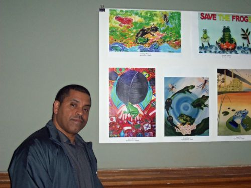Michael Markman, art teacher for JCBOE at Frogs Are Green City Hall opening