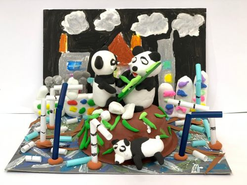 Yui Yan Lam, 4 years old, Hong Kong, Big House Art Workshop, 2020 earth day