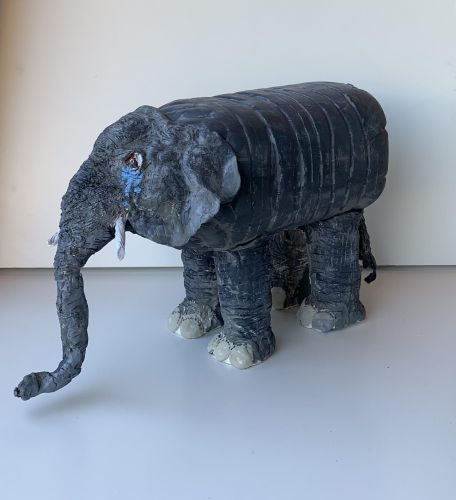 Sad elephant sculpture by Claire Chong, 9 yrs old, CA for Earth Day 2020