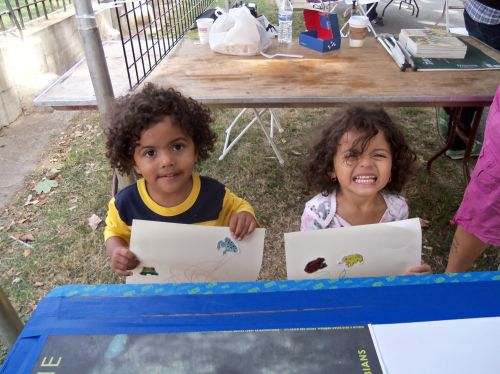 Two Younsters drawing and adding frog stickers too at WPLIVE